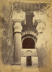 Exterior view of the Buddhist Chaitya Hall, Bedsa Caves, Pune District.